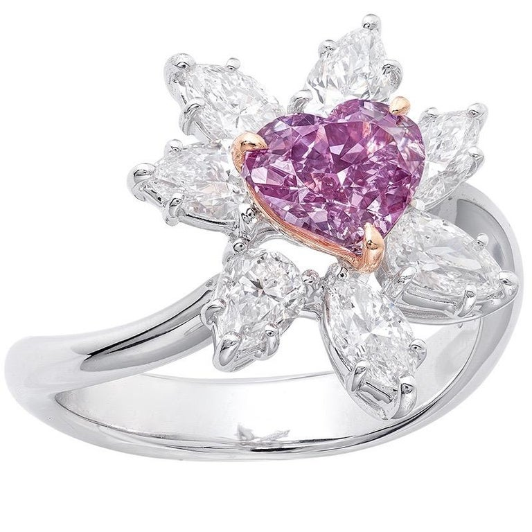 Emilio Jewelry GIA Certified Fancy Intense Purple Diamond Ring In New Condition For Sale In New York, NY