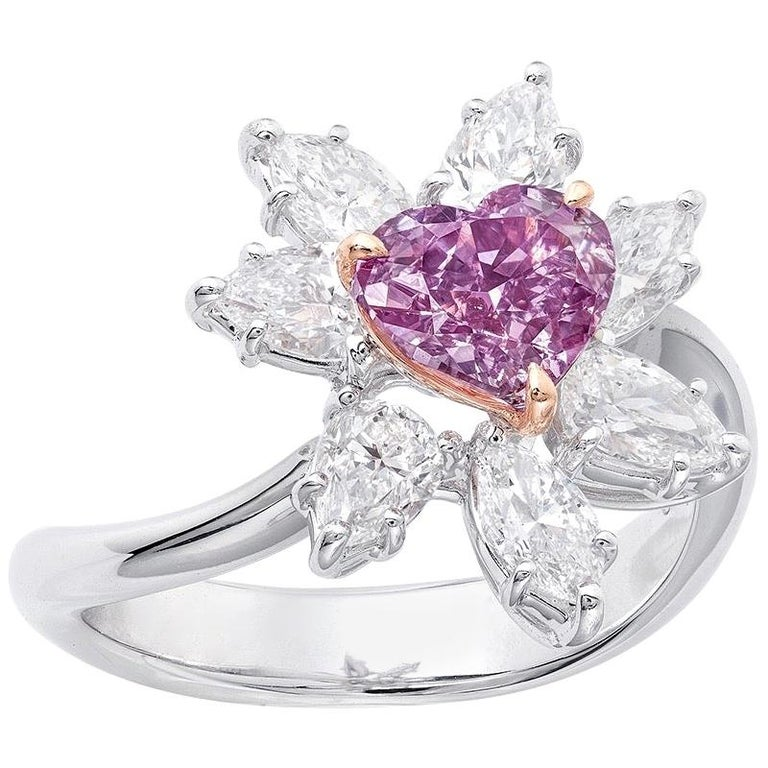Emilio Jewelry GIA Certified Fancy Intense Purple Diamond Ring For Sale