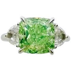 Emilio Jewelry GIA Certified Fancy Light Green Diamond Ring