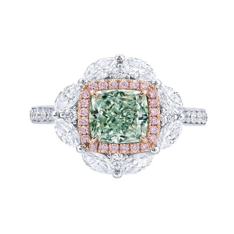 Emilio Jewelry GIA Certified Fancy Light Pure Green Diamond Ring For Sale