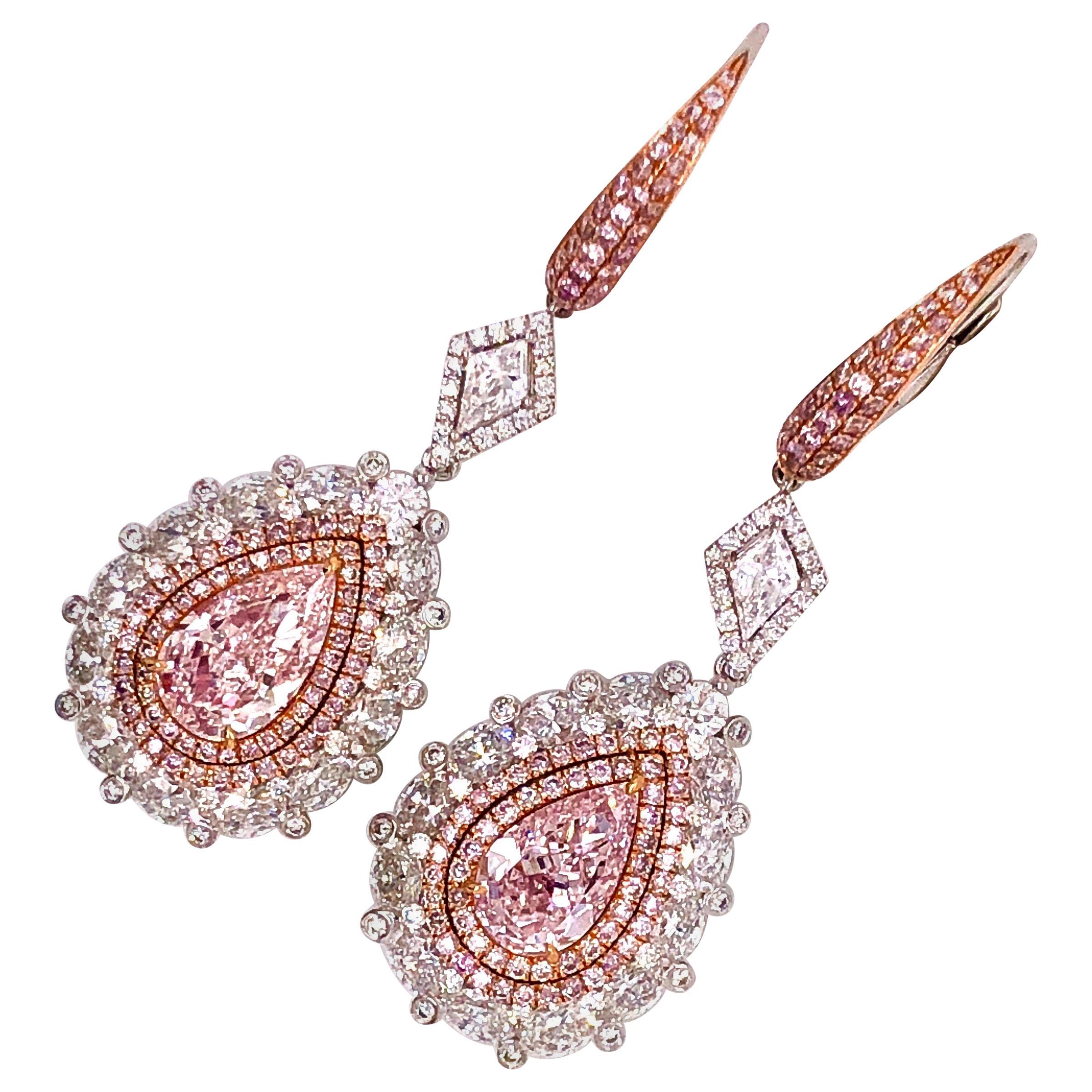 Emilio Jewelry GIA Certified Fancy Pink Diamond Earrings