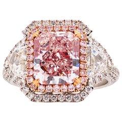 Emilio Jewelry GIA Certified 3.00 Carat Fancy Light Pink Diamond Ring