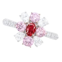 Emilio Jewelry GIA Certified Fancy Pure Red Diamond Ring