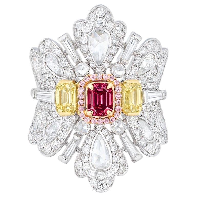 Emilio Jewelry GIA Certified Fancy Red Diamond Ring
