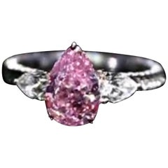 Emilio Jewelry GIA Certified Fancy Vivid Purple Pink Diamond Ring
