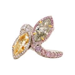 Emilio Jewelry GIA Certified Green and Yellow Diamond Ring