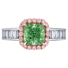 Emilio Jewelry GIA Certified Natural Fancy Green Diamond Ring
