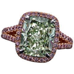 Emilio Jewelry GIA Certified Natural Fancy Intense Green Diamond Ring