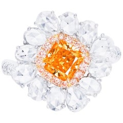 Emilio Jewelry GIA Certified Natural Fancy Vivid Orange Diamond Ring