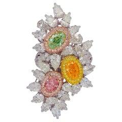 Emilio Jewelry GIA Certified Natural Green Pink Orange Diamond Ring