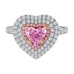Emilio Jewelry GIA Certified Natural Heart Shape Pink Diamond Ring