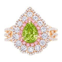 Emilio Jewelry GIA Fancy Intense Yellow Green Diamond Ring