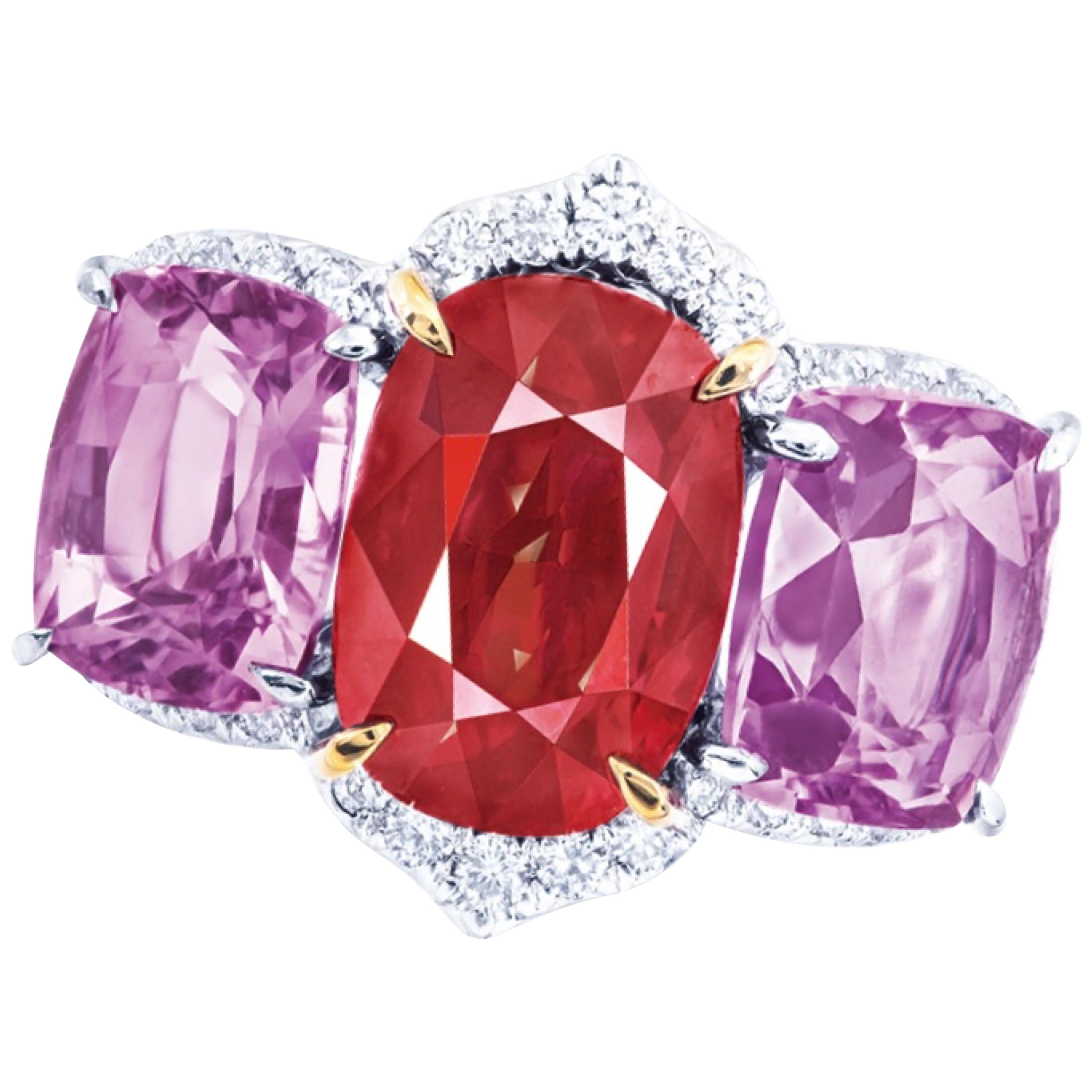 Emilio Jewelry GRS Certified 5.00 Carat Untreated Pigeons Blood Ruby Ring