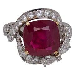 Emilio Jewelry GRS Certified 6.50 Carat Pigeons Blood Burmese Ruby Ring