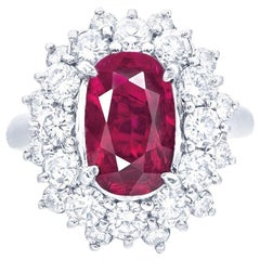 Emilio Jewelry Gubelin Certified 2.84 Carat Pigeons Blood Ruby Ring
