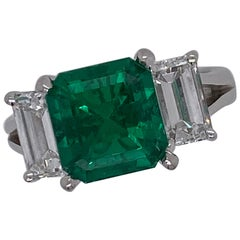 Emilio Jewelry Gubelin Certified 3.90 Carat Untreated No Oil Colombian Emerald