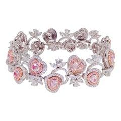 Emilio Jewelry Heart Natural Pink Diamond Bracelet