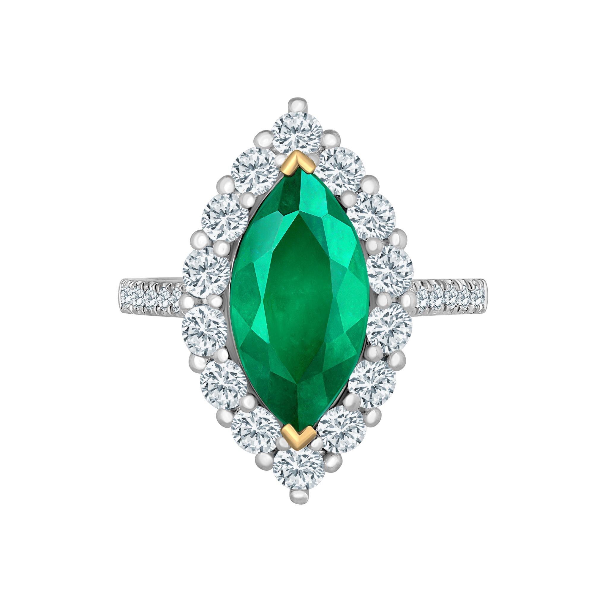 Emilio Jewelry Marquise Colombian Emerald Diamond Ring