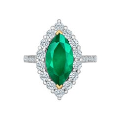 Emilio Jewelry Marquise Colombian Emerald Diamond Ring