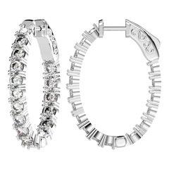 Emilio Jewelry Oval 3.40 Carat Diamond Hoops