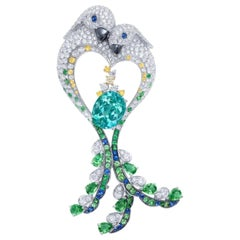 Emilio Jewelry Paraiba Diamond Brooch