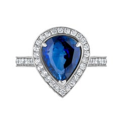 Emilio Jewelry Pear Shape Certified Sapphire Diamond Ring