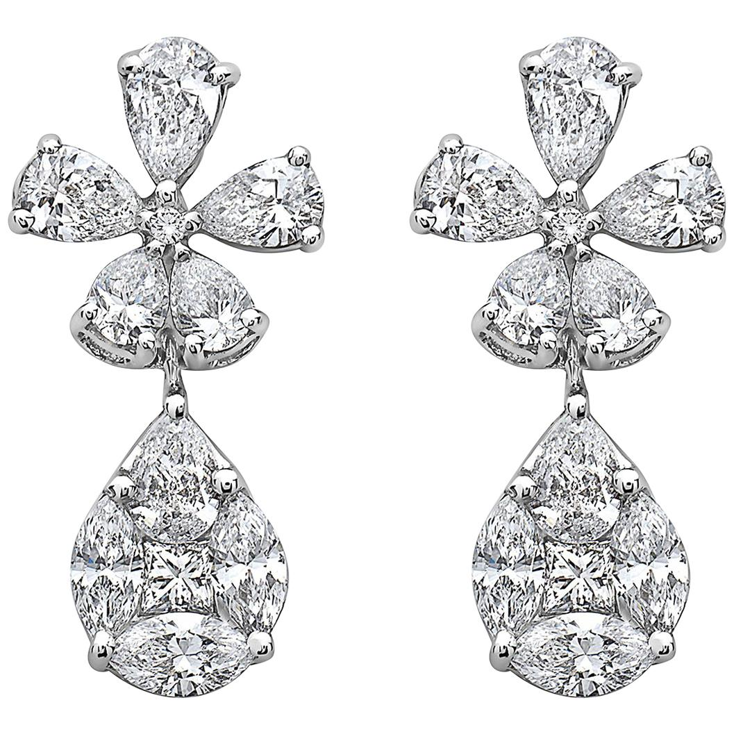 Emilio Jewelry Petite Flower and Teardrop Dangle Earring