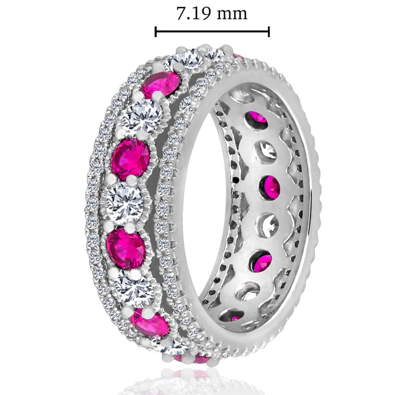 Modern Emilio Jewelry Ruby Diamond Platinum Eternity Band For Sale