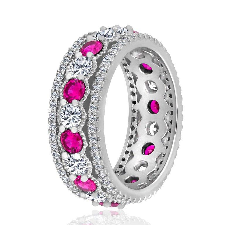 Emilio Jewelry Ruby Diamond Platinum Eternity Band In New Condition For Sale In New York, NY
