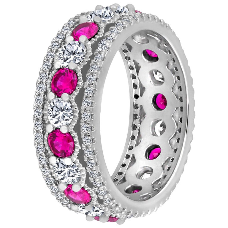 Emilio Jewelry Ruby Diamond Platinum Eternity Band For Sale