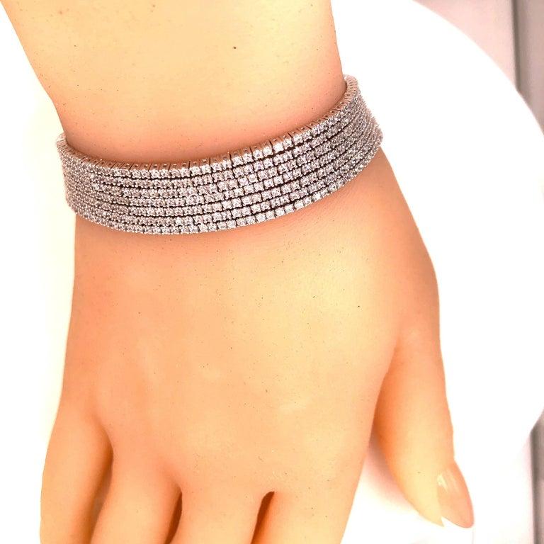 Emilio Jewelry Seven-Row 9.50 Carat Endless Diamond Bracelet For Sale 6
