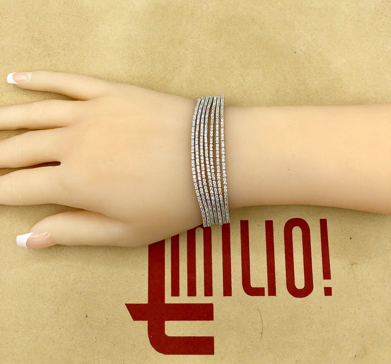 Emilio Jewelry Seven-Row 9.50 Carat Endless Diamond Bracelet For Sale 7