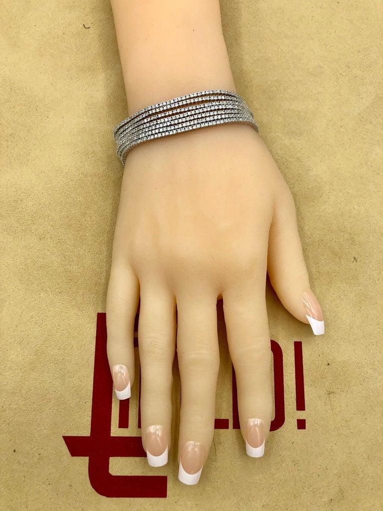 Emilio Jewelry Seven-Row 9.50 Carat Endless Diamond Bracelet For Sale 8