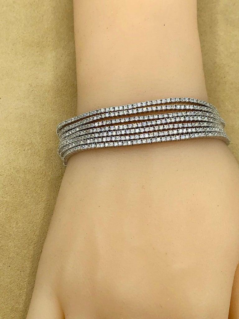 Emilio Jewelry Seven-Row 9.50 Carat Endless Diamond Bracelet For Sale 9