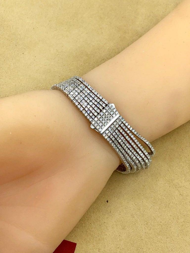Emilio Jewelry Seven-Row 9.50 Carat Endless Diamond Bracelet For Sale 10