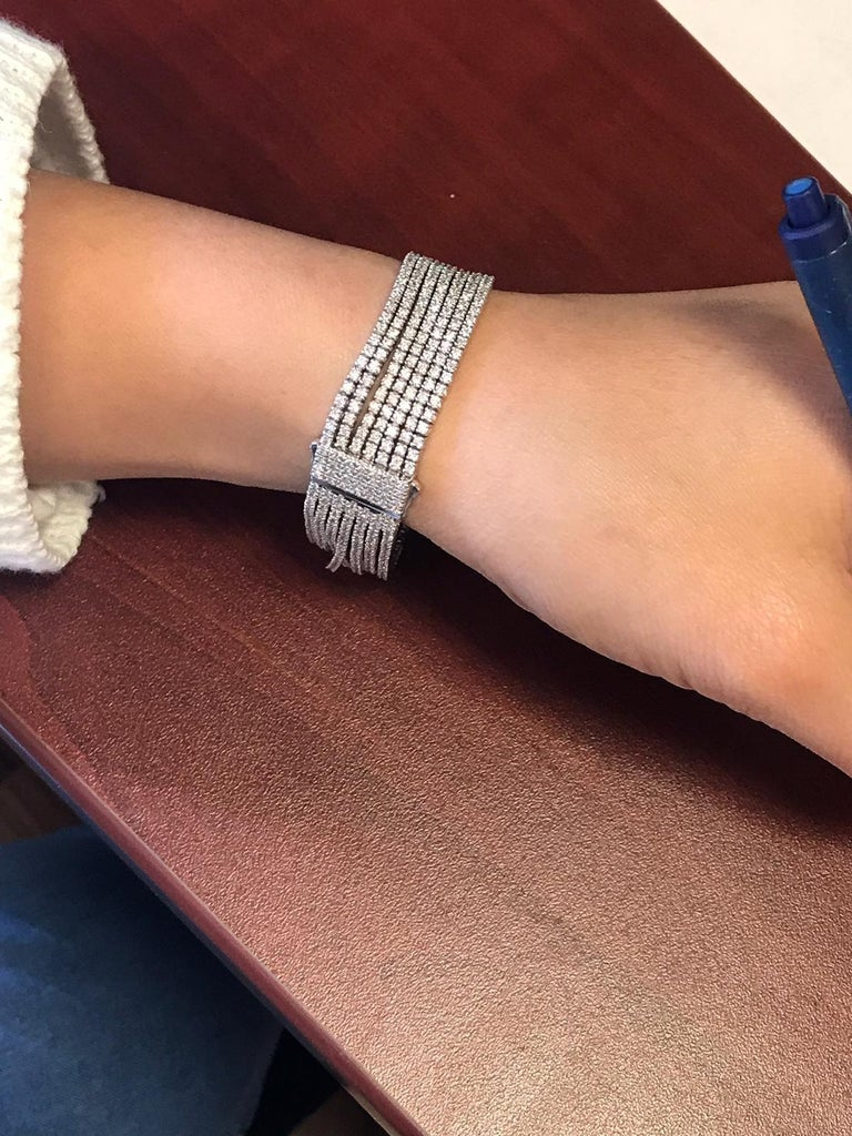 18k Gold Bracelet with Seven rows of diamonds that will cover your entire wrist with diamonds!  7 inches long and 1.70mm wide! Available in all wrist lengths, and can be ordered in either yellow or rose gold. Approximately 623 diamonds totaling