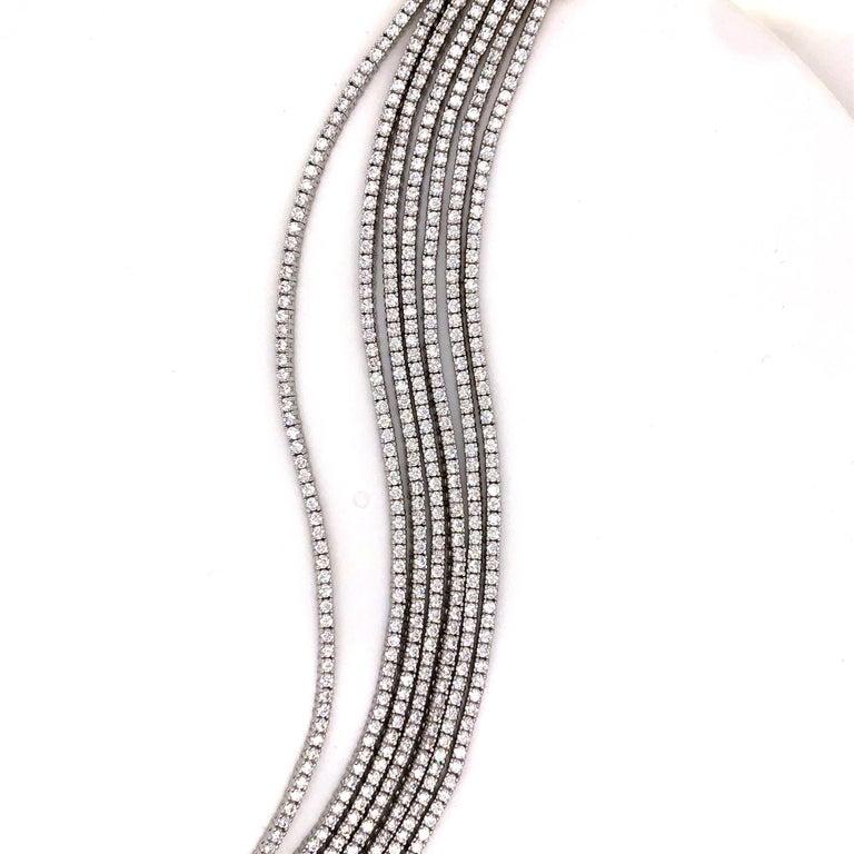 Emilio Jewelry Seven-Row 9.50 Carat Endless Diamond Bracelet For Sale 4