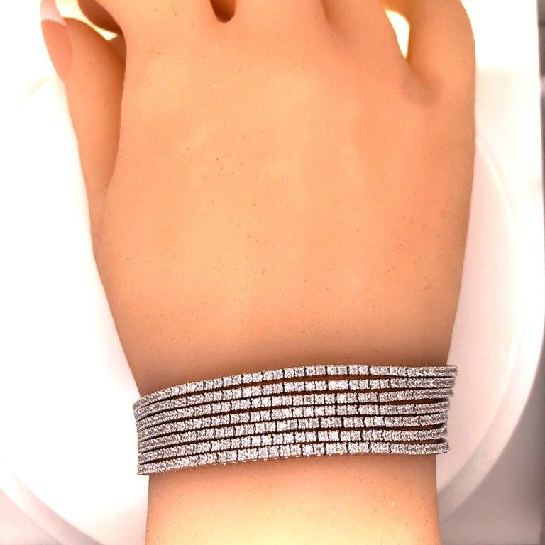 Emilio Jewelry Seven-Row 9.50 Carat Endless Diamond Bracelet For Sale 5