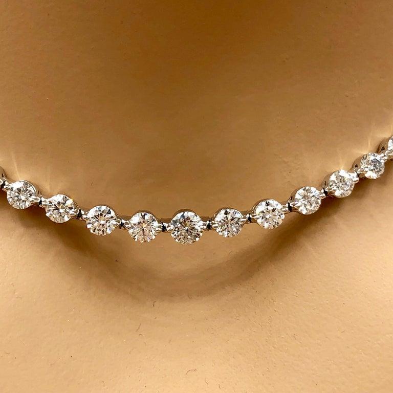 Emilio Jewelry Signature 10.35 Carat Graduating Diamond Riviera Necklace For Sale 7