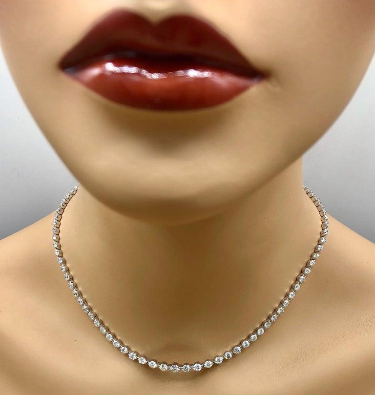 Emilio Jewelry Signature 10.35 Carat Graduating Diamond Riviera Necklace For Sale 8