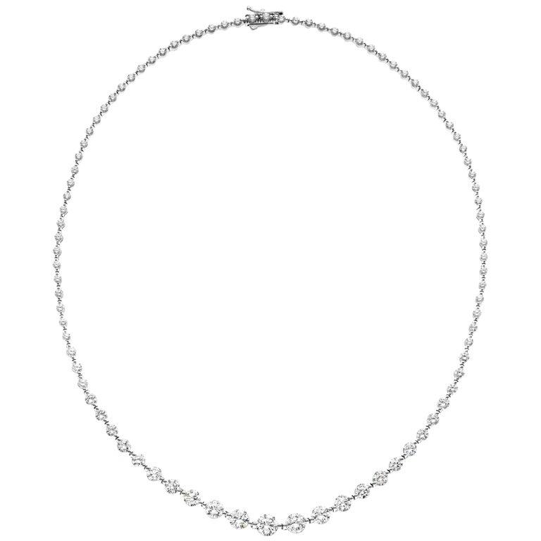 Emilio Jewelry Signature 10.35 Carat Graduating Diamond Riviera Necklace For Sale