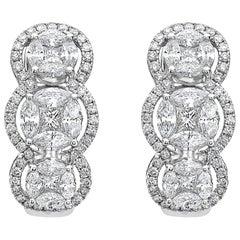 Emilio Jewelry Special 3.21 Carat Fancy Cut Diamond Huggie Earrings