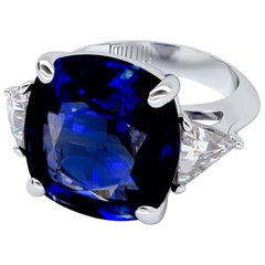 Emilio Jewelry Vivid Blue Certified  16.36 Carat Ceylon Sapphire Diamond Ring