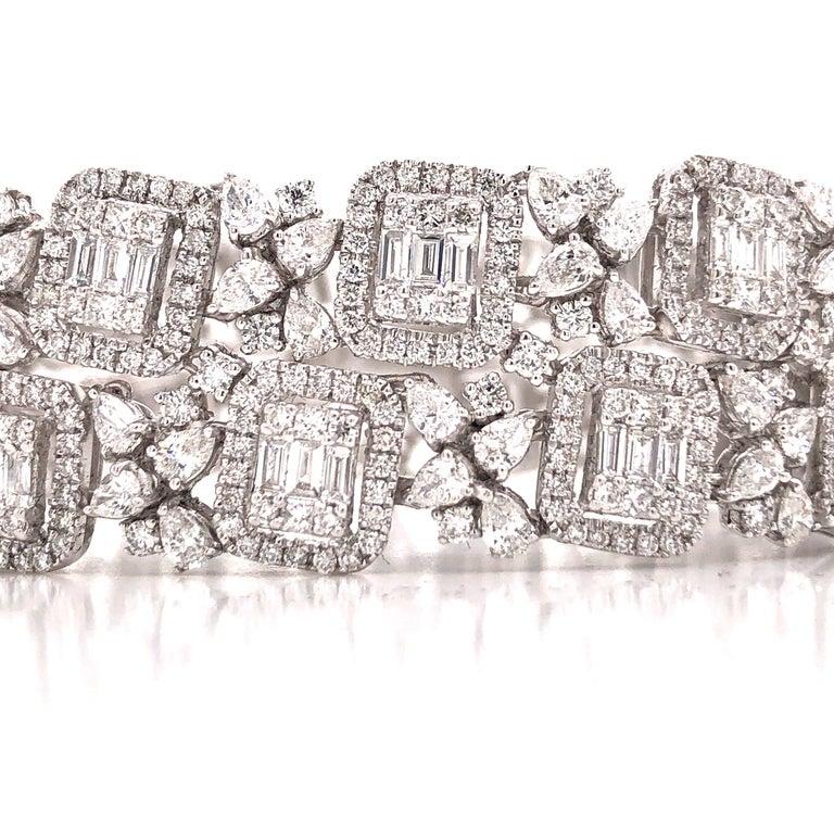 Women's or Men's Emilio Jewelry Wide Diamond Bracelet For Sale