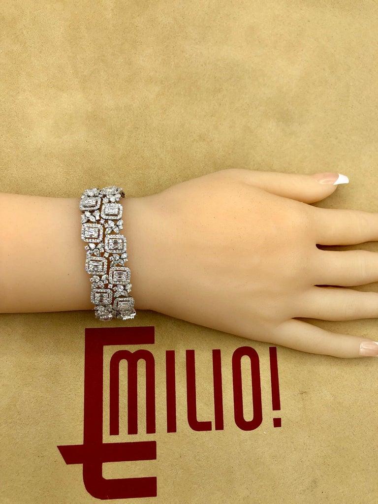 Emilio Jewelry Wide Diamond Bracelet For Sale 2