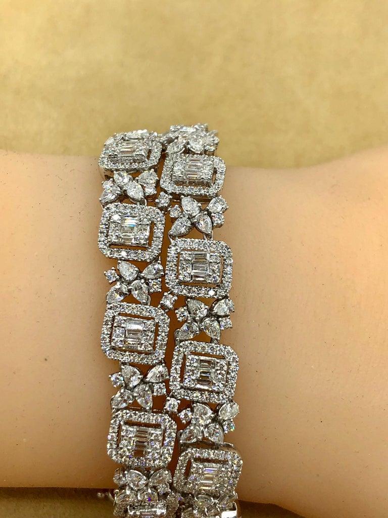 Emilio Jewelry Wide Diamond Bracelet For Sale 3
