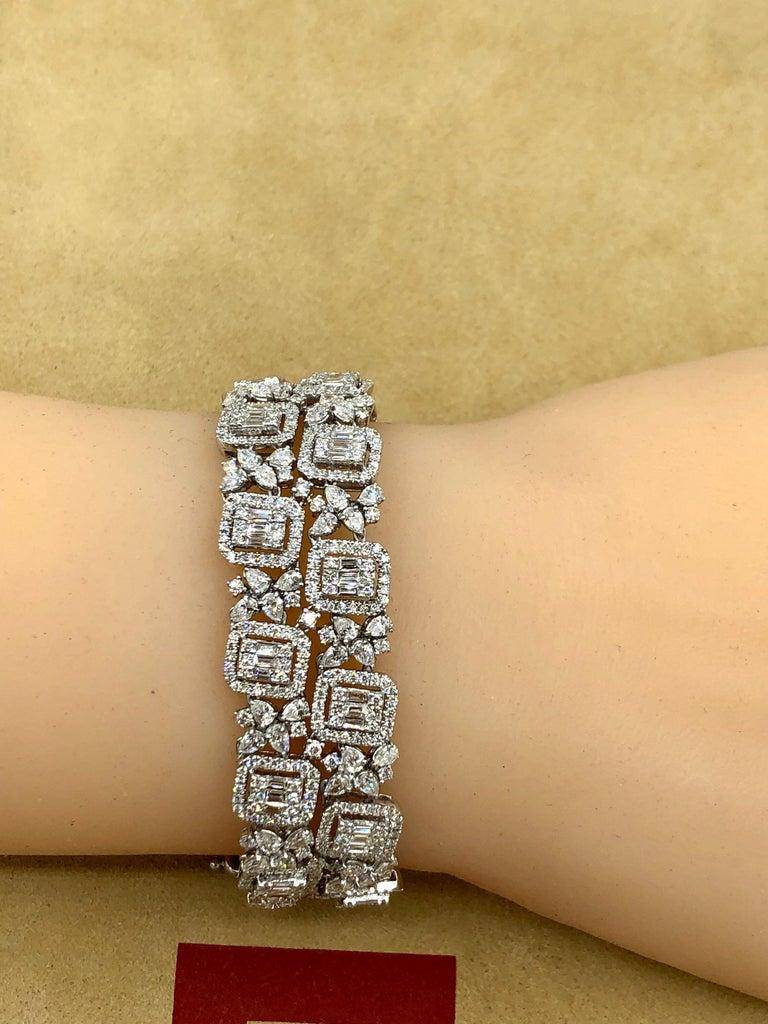 Emilio Jewelry Wide Diamond Bracelet For Sale 4