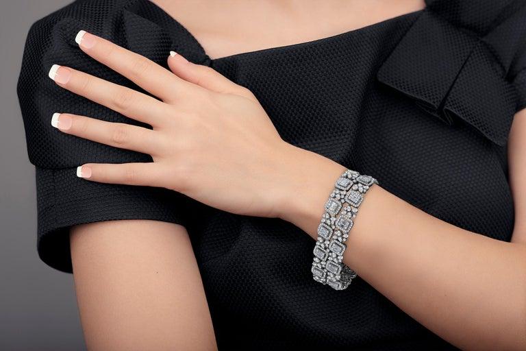 Emilio Jewelry Wide Diamond Bracelet For Sale 5