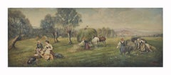 COUNTRY LANDSCAPE - Emilio Pergola Italian oil on canvas painting