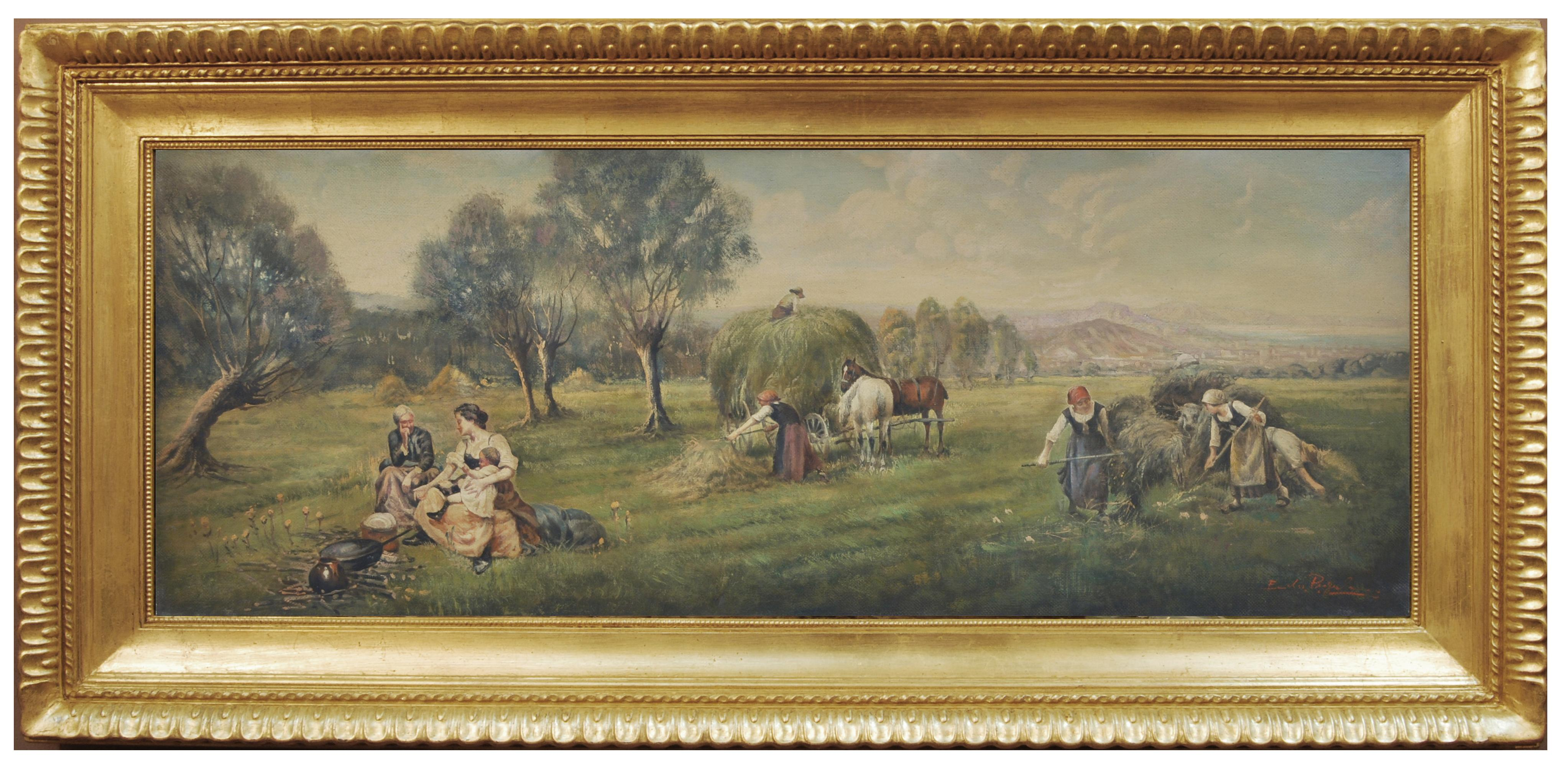 COUNTRY LANDSCAPE - French School - Italian Oil on Canvas Painting